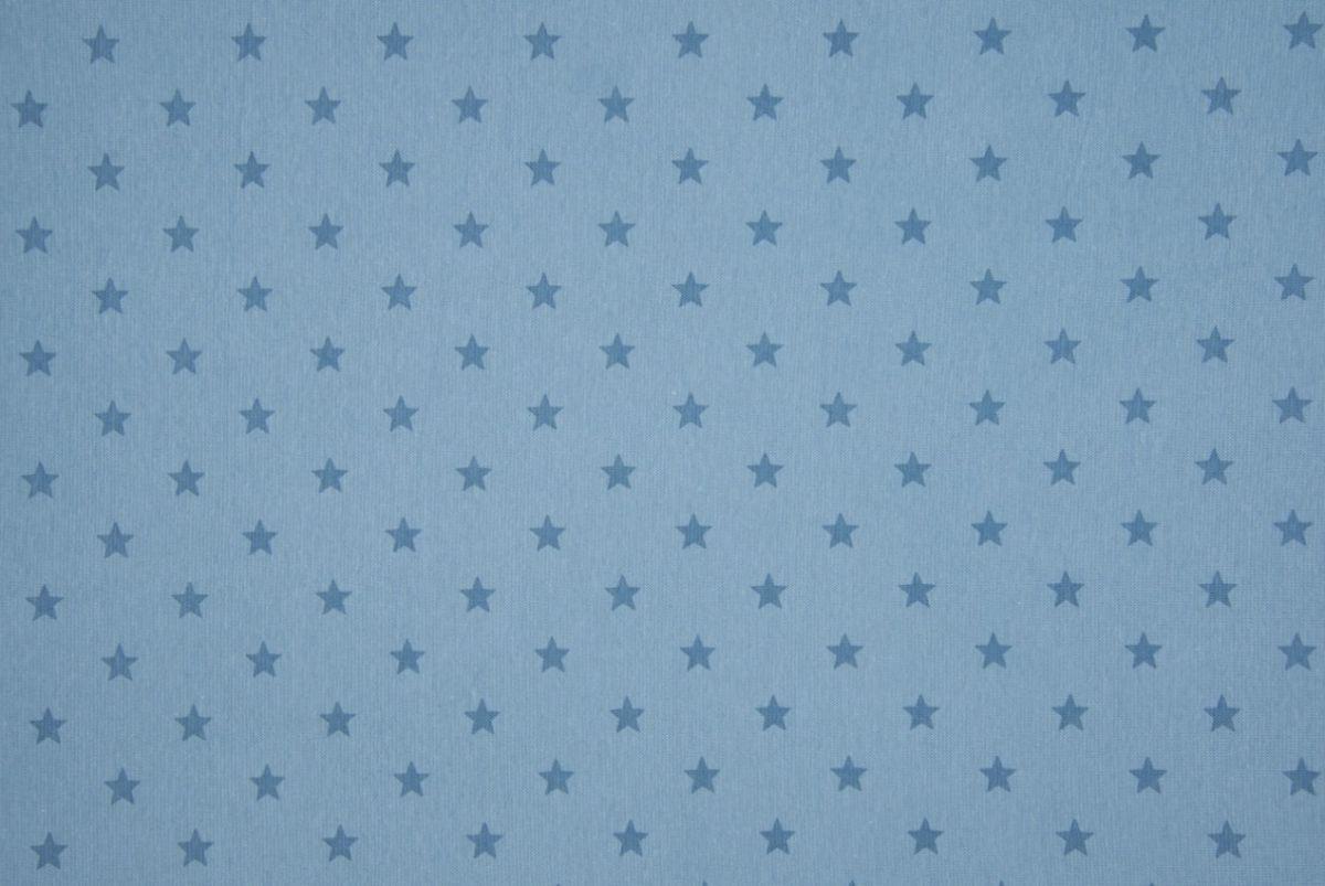 Tricot boordstof jeansblauw sterren